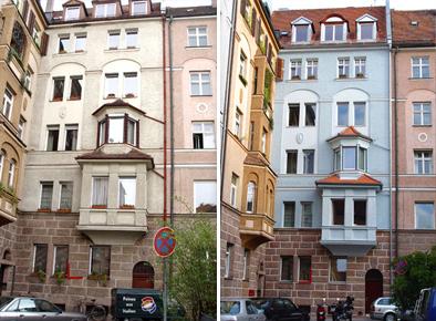 Kaulbachplatz Fassade - Vorher / Nachher